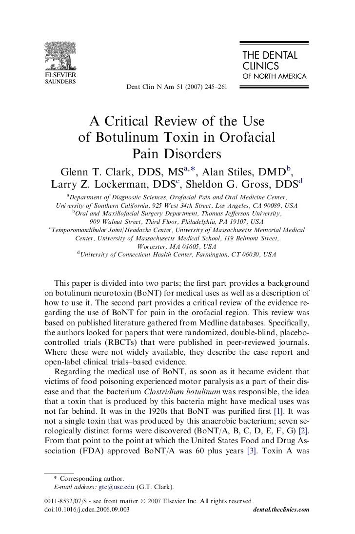 Dent Clin N Am 51 (2007) 245–261              A Critical Review of the Use            of Botulinum Toxin in Orofacial     ...
