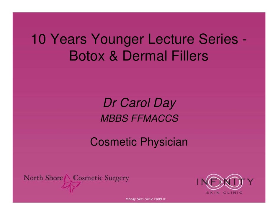 10 Years Younger Lecture Series -      Botox & Dermal Fillers              Dr Carol Day           MBBS FFMACCS           C...
