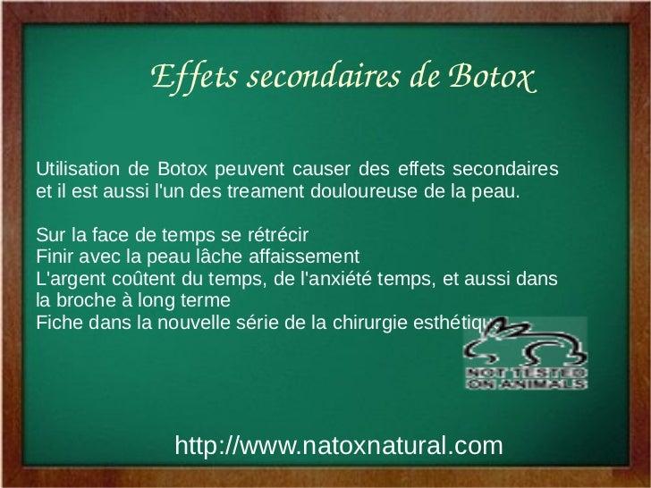 EffetssecondairesdeBotoxUtilisation de Botox peuvent causer des effets secondaireset il est aussi lun des treament doul...