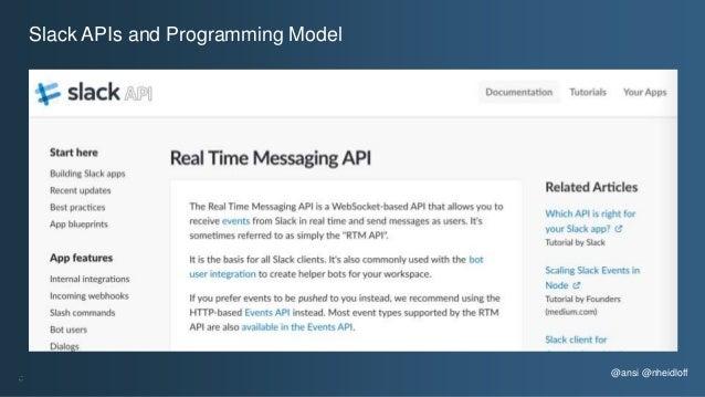 @ansi @nheidloff Slack APIs and Programming Model