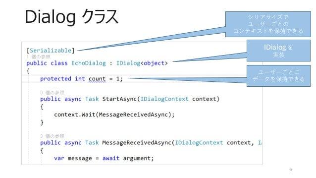 Dialog クラス 9 シリアライズで ユーザーごとの コンテキストを保持できる ユーザーごとに データを保持できる IDialog を 実装