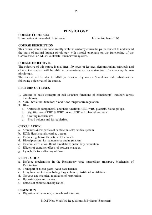 Ungewöhnlich Anatomy And Physiology Course Objectives Galerie ...