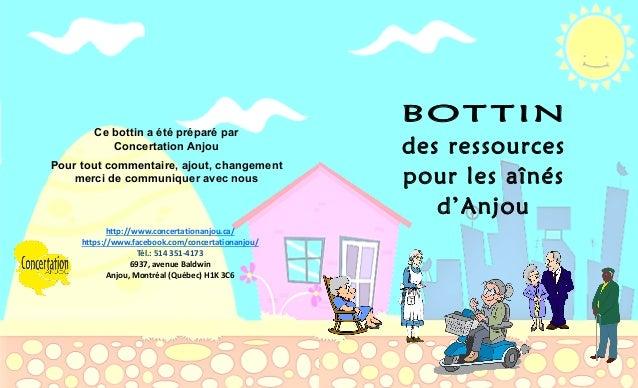 56 Ce bottin a été préparé par Concertation Anjou Pour tout commentaire, ajout, changement merci de communiquer avec nous ...
