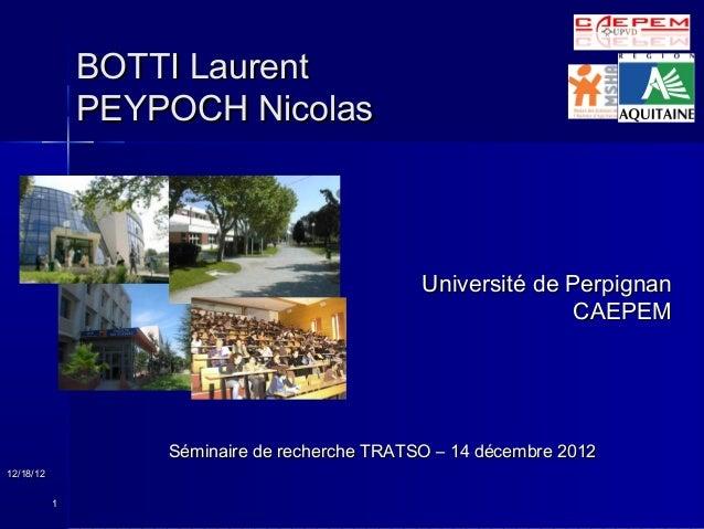 BOTTI Laurent               PEYPOCH Nicolas                                               Université de Perpignan         ...