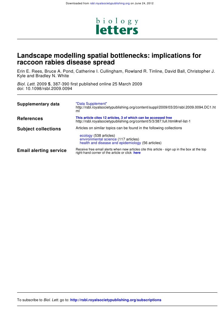 Downloaded from rsbl.royalsocietypublishing.org on June 24, 2012Landscape modelling spatial bottlenecks: implications forr...
