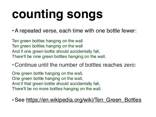 Coding With Counting Songs Ten Green Bottles In Python