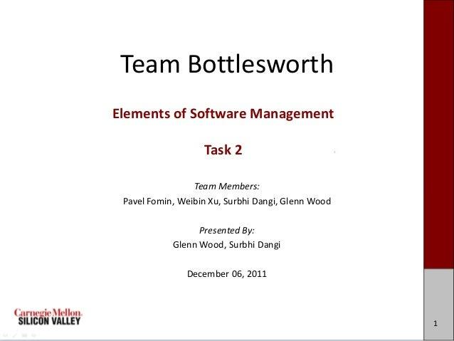 Team BottlesworthElements of Software Management                   Task 2                 Team Members: Pavel Fomin, Weibi...