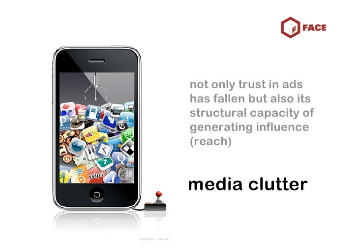 not only trust in ads has fallen but also its structural capacity of generating influence (reach)   media clutter
