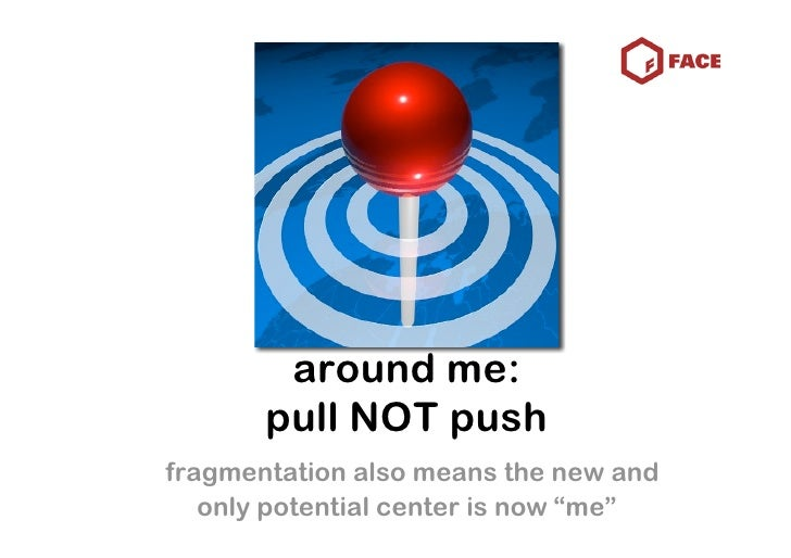 """around me:        pull NOT push fragmentation also means the new and    only potential center is now """"me"""""""