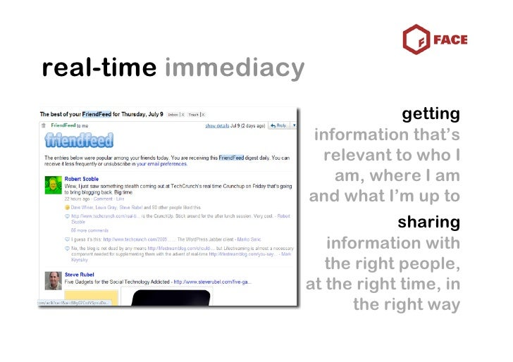 real-time immediacy                                   getting                        information that's                   ...