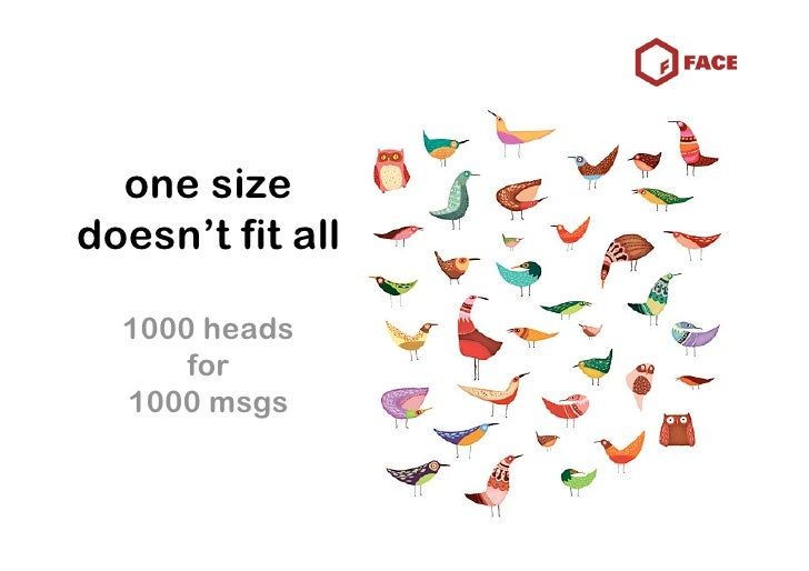 one size doesn't fit all    1000 heads       for   1000 msgs