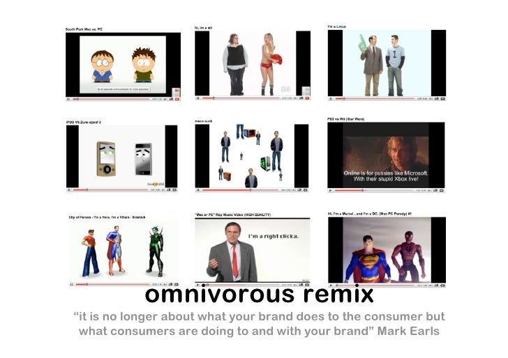 """omnivorous remix """"it is no longer about what your brand does to the consumer but  what consumers are doing to and with you..."""