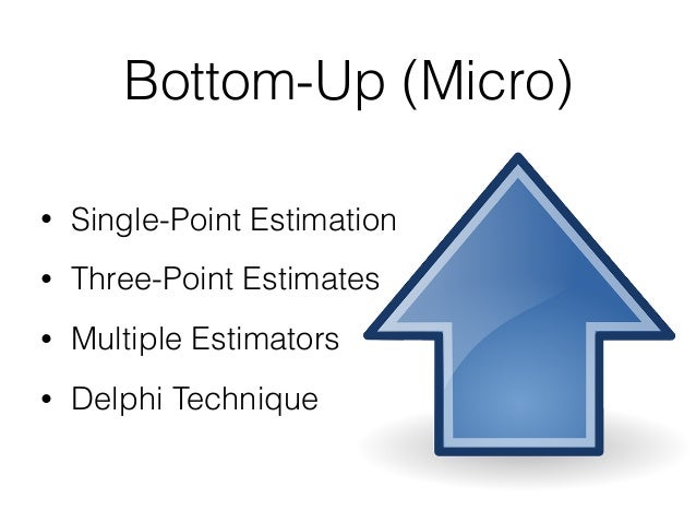 Bottom-Up (Micro) • Single-Point Estimation • Three-Point Estimates • Multiple Estimators • Delphi Technique