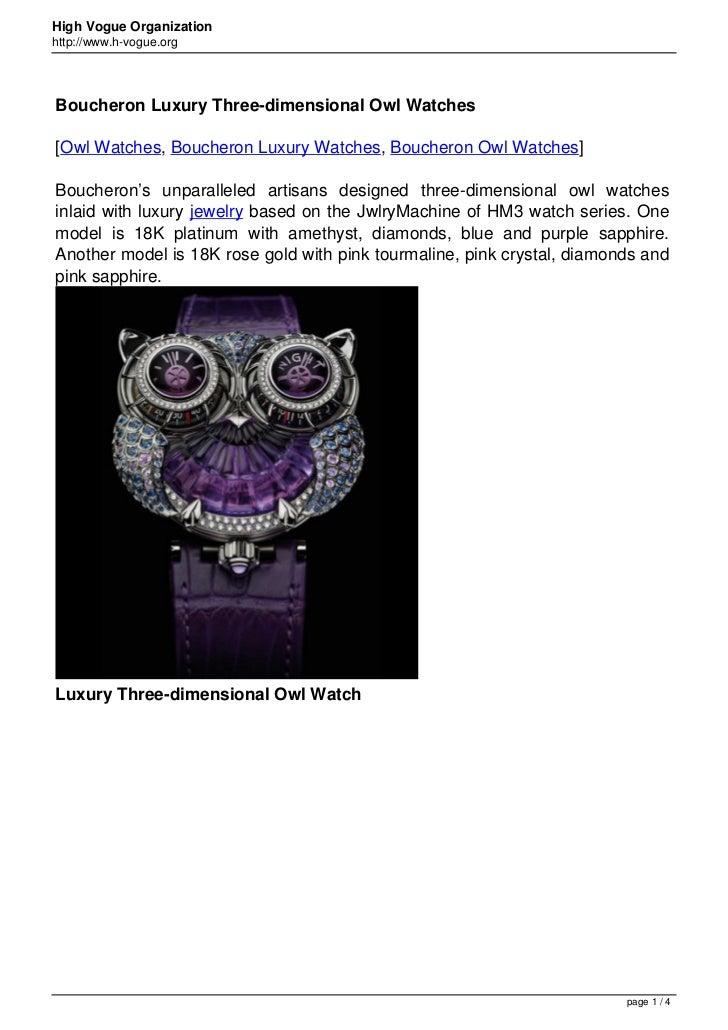 High Vogue Organizationhttp://www.h-vogue.orgBoucheron Luxury Three-dimensional Owl Watches[Owl Watches, Boucheron Luxury ...