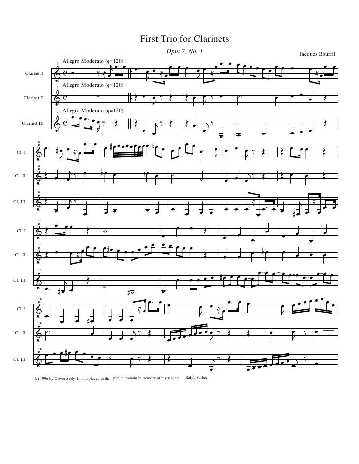 First Trio for Clarinets                                                                                           Opus 7,...