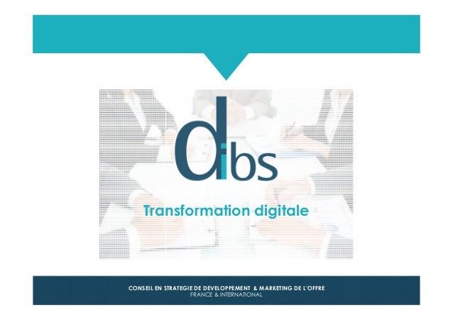 © Dibs I Confidentiel 1 CONSEIL EN STRATEGIE DE DEVELOPPEMENT & MARKETING DE L'OFFRE FRANCE & INTERNATIONAL Transformation...