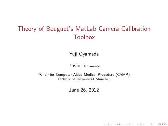 Bouguet's MatLab Camera Calibration Toolbox