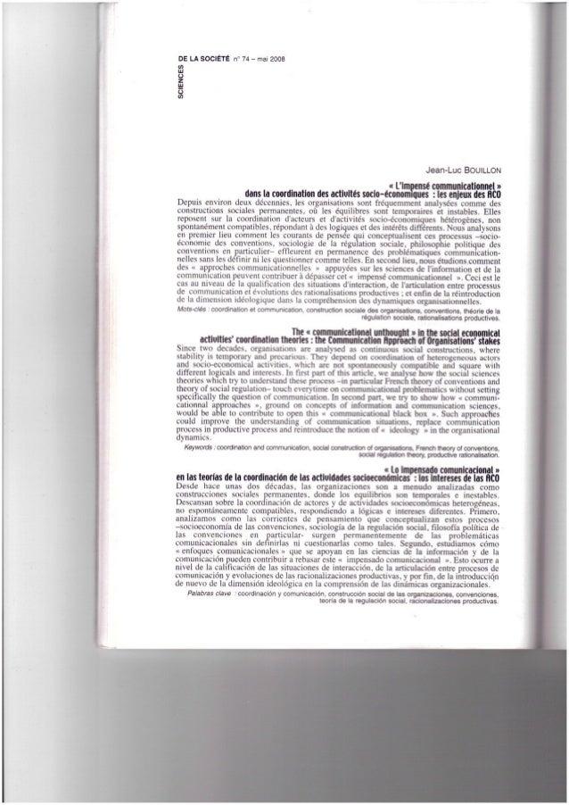"""BOUILLON, Jean - Luc (2007). """"""""L'impensé communicationnel"""" dans la coodination des activités socio - économiques les enjeu..."""
