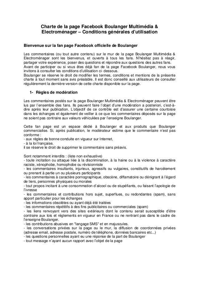 Charte de la page Facebook Boulanger Multimédia &          Electroménager – Conditions générales d'utilisationBienvenue su...