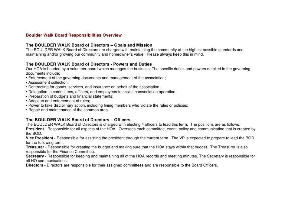 Boulder Walk Board Responsibilities Overview  The BOULDER WALK Board of Directors – Goals and Mission The BOULDER WALK Boa...