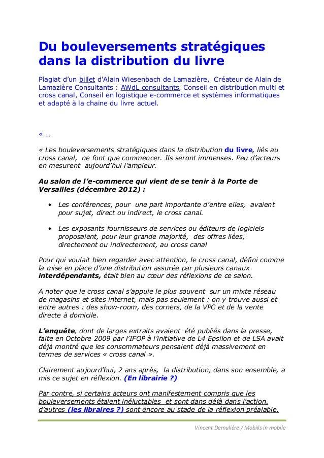 Du bouleversements stratégiques dans la distribution du livre Plagiat d'un billet d'Alain Wiesenbach de Lamazière, Créateu...
