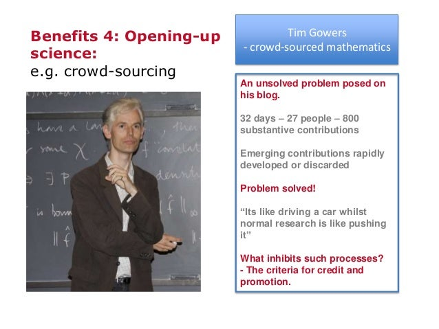 Mathematics related discussions Tim Gowers - crowd-sourced mathematics An unsolved problem posed on his blog. 32 days – 27...