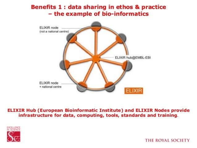 Benefits 1 : data sharing in ethos & practice – the example of bio-informatics ELIXIR Hub (European Bioinformatic Institut...
