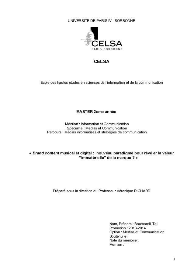 1 UNIVERSITE DE PARIS IV - SORBONNE CELSA Ecole des hautes études en sciences de l'information et de la communication MAST...