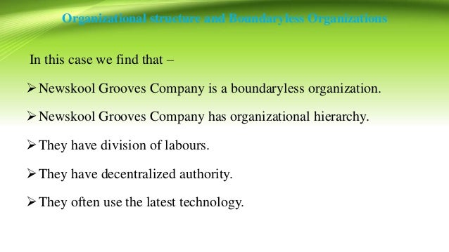 case study on boundaryless organizations newskool Boundaryless organizations blur the boundaries between departments or the boundaries between the focal organization and others in the environment these organizations may take the form of a modular organization, strategic alliance, or self-managing teams.