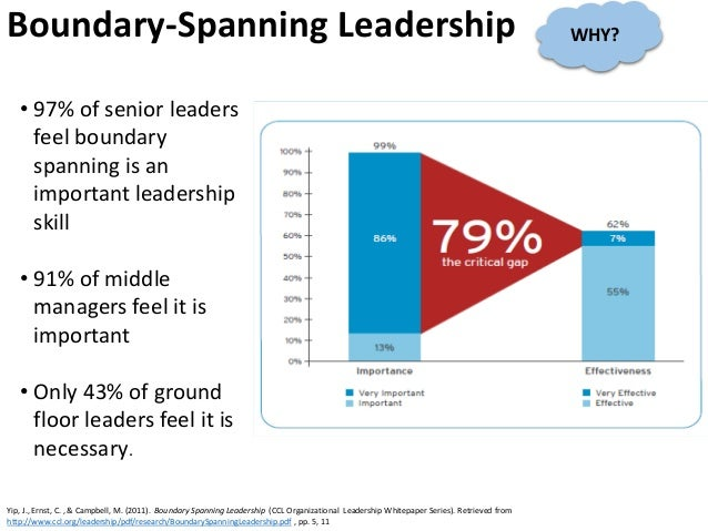 • 97% of senior leaders feel boundary spanning is an important leadership skill • 91% of middle managers feel it is import...