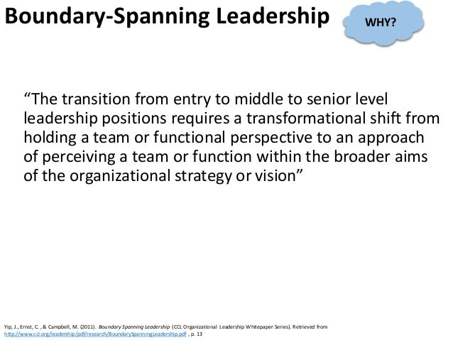 """Boundary-Spanning Leadership """"The transition from entry to middle to senior level leadership positions requires a transfor..."""