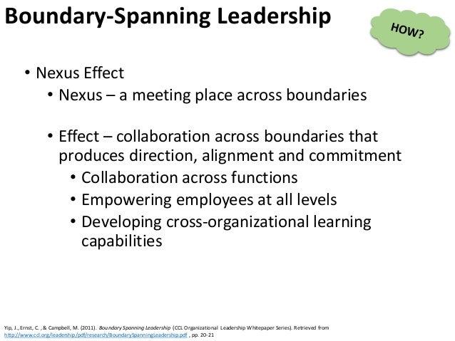• Nexus Effect • Nexus – a meeting place across boundaries • Effect – collaboration across boundaries that produces direct...