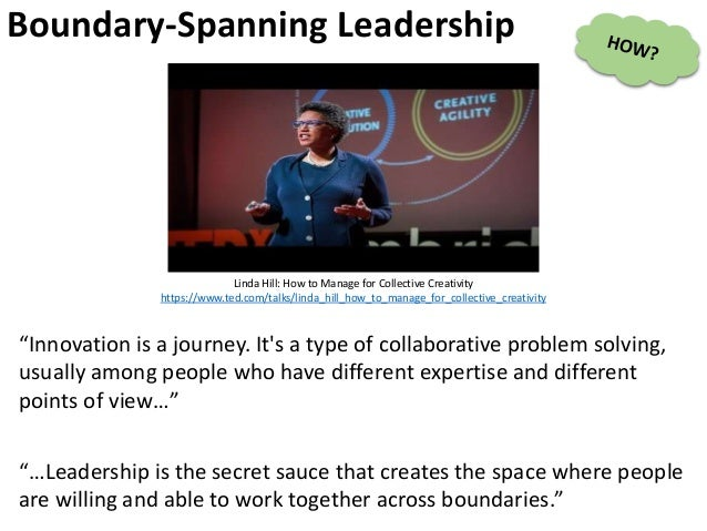 Boundary-Spanning Leadership Linda Hill: How to Manage for Collective Creativity https://www.ted.com/talks/linda_hill_how_...