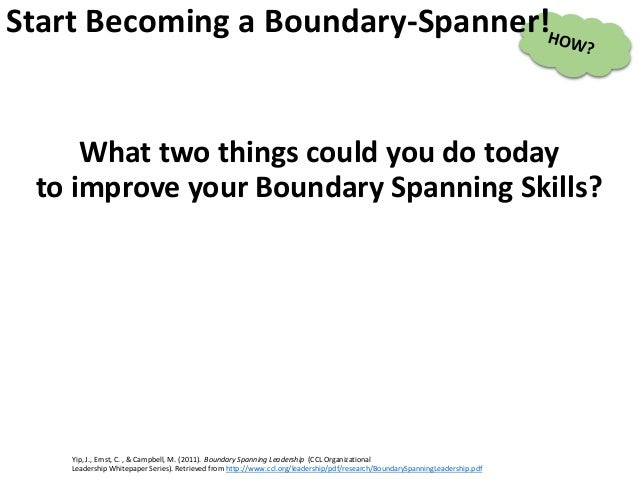 What two things could you do today to improve your Boundary Spanning Skills? Yip, J., Ernst, C. , & Campbell, M. (2011). B...
