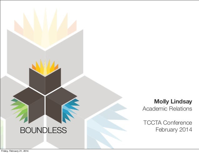 Molly Lindsay Academic Relations  BOUNDLESS! Friday, February 21, 2014  TCCTA Conference February 2014