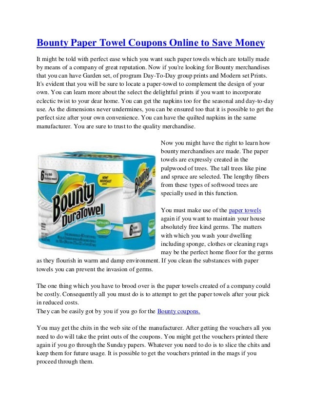 Bounty Paper Towel Coupons Online To Save Money