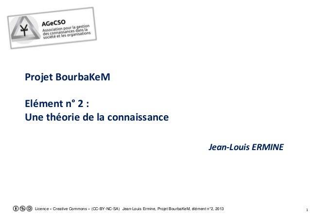 1Licence « Creative Commons » (CC-BY-NC-SA) Jean-Louis Ermine, Projet BourbaKeM, élément n°2, 2013 Projet BourbaKeM Elémen...