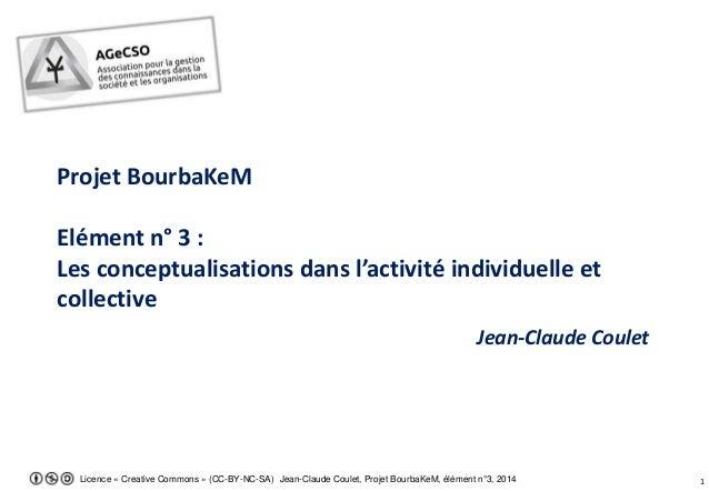 Licence « Creative Commons » (CC-BY-NC-SA) Jean-Claude Coulet, Projet BourbaKeM, élément n°3, 2014 1 Projet BourbaKeM Elém...