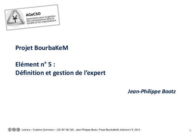 Licence « Creative Commons » (CC-BY-NC-SA) Jean-Philippe Bootz, Projet BourbaKeM, élément n°5, 2014 1 Projet BourbaKeM Elé...