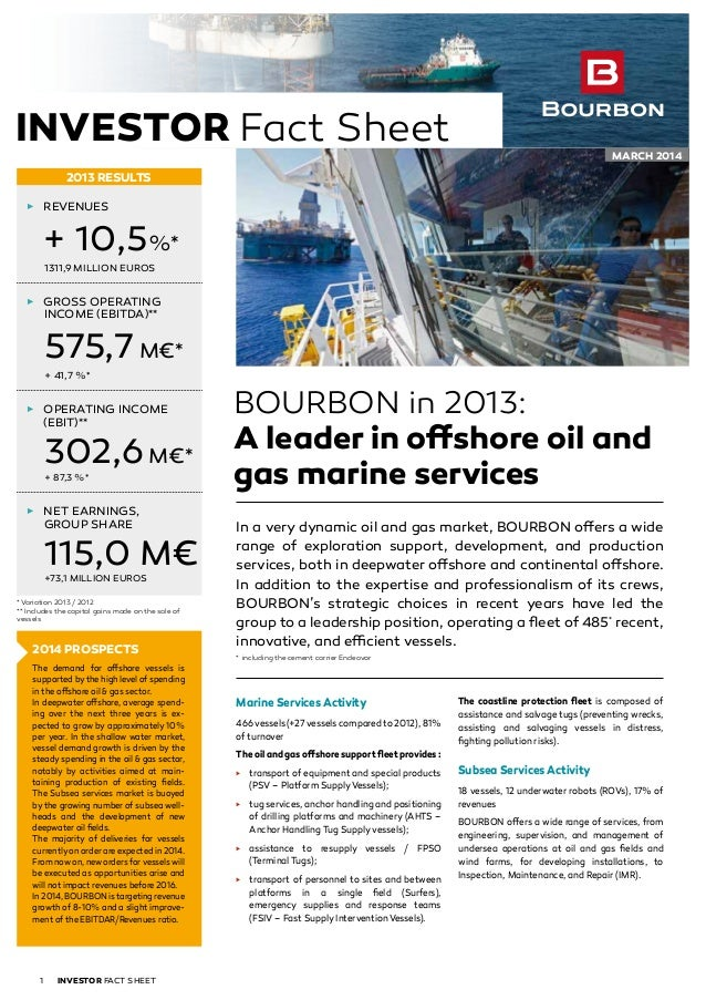 BOURBON in 2013: A leader in offshore oil and gas marine services In a very dynamic oil and gas market, BOURBON offers a w...