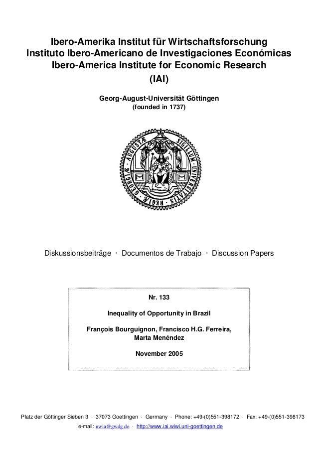 Ibero-Amerika Institut für Wirtschaftsforschung  Instituto Ibero-Americano de Investigaciones Económicas        Ibero-Amer...