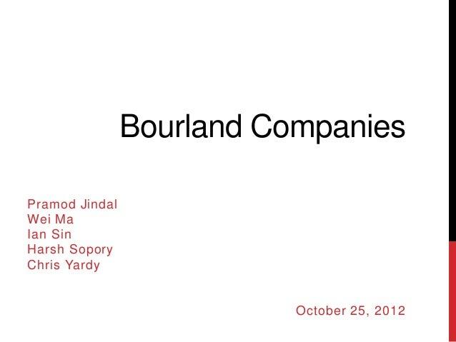 Bourland CompaniesPramod JindalWei MaIan SinHarsh SoporyChris Yardy                           October 25, 2012