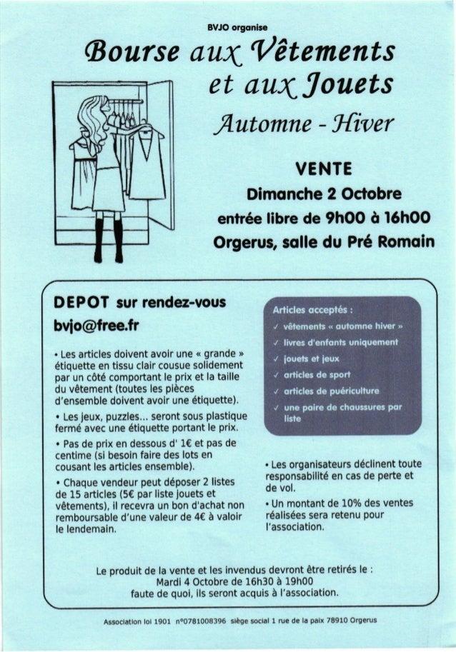 BVJO orgqnbc (Bourse aux-'/Auments et au4louets flutomne - I{iver VENTE Dimonche 2 Octobre entr6e libre de thOO A l6hOO Or...