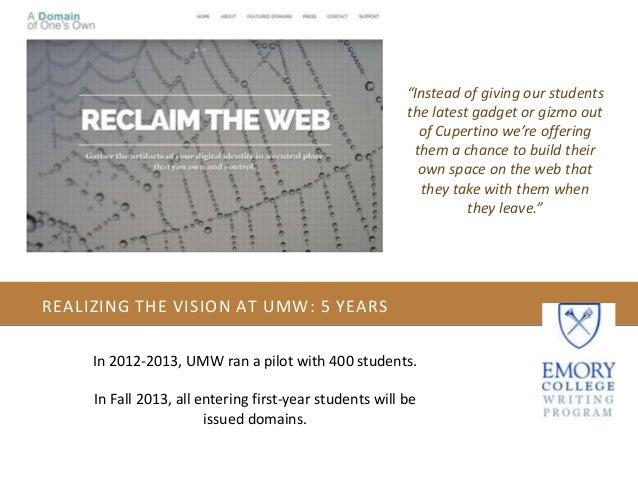 Emory Writing Program Domain Pilot Orientation Slide 3