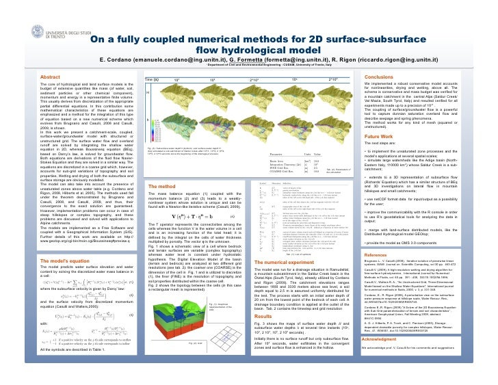 On a fully coupled numerical methods for 2D surface-subsurface                                                    flow hyd...
