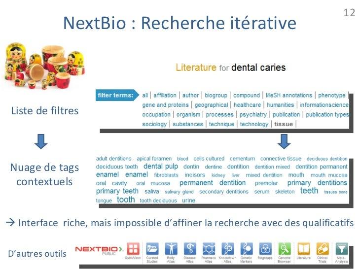 12             NextBio : Recherche itérative Liste de filtres Nuage de tags  contextuels Interface riche, mais impossible...