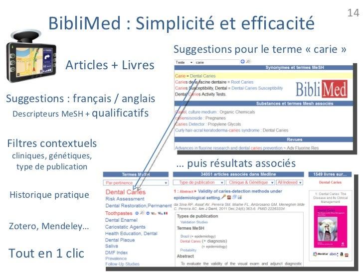 14          BibliMed : Simplicité et efficacité                                     Suggestions pour le terme « carie »   ...