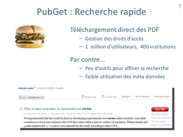7PubGet : Recherche rapide       Téléchargement direct des PDF         – Gestion des droits d'accès         – 1 million d'...