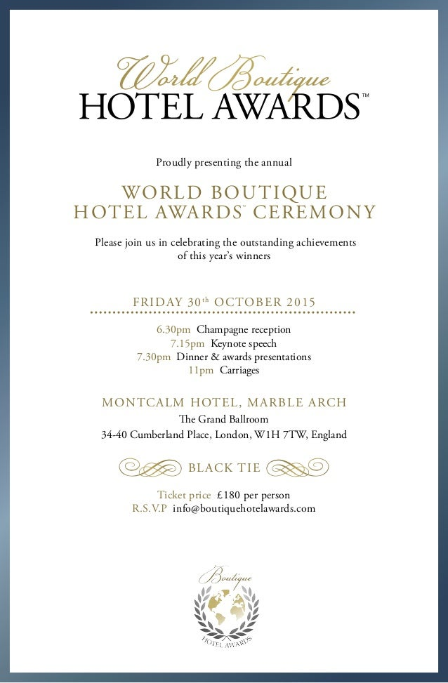 Boutique Hotel Awards 2015 Invitation