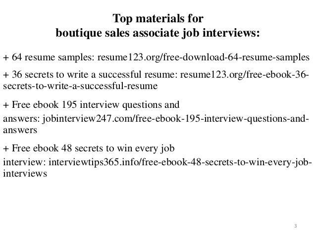 Fashion Sales Associate CV Sample Resume Boutique